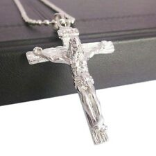 925 Sterling Silver 3D Christian Jesus Christ Cross Catholic Crucifix Necklace
