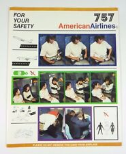 Original Vintage AMERICAN AIRLINES Safety Card 757
