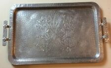 Used World Wrought Aluminum Tray Floral Hand Forged 14 X 21 Inches