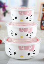 New Cute 3-piece For Hello Kitty Ceramic Bowl Fruit Food Storage Containers Set