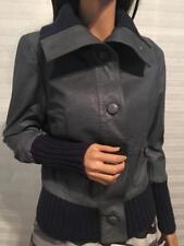 LULU & VERONICA Gray Leather Ribbed Knit Details Jacket Coat szM