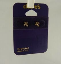 18kt gold plated cross crystal studs earring posts earrings religiuos