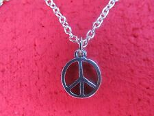 Peace Sign pendant necklace on link chain FREE SHIPPING (retro/hippie)