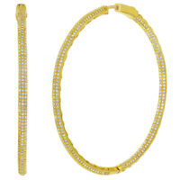 """18k Gold Plated Micro Pave Clear CZ Large Endless Hoop Earrings 2.16"""""""