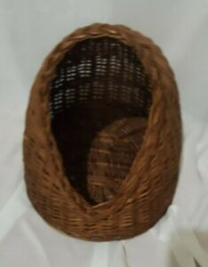 Vintage Wicker Cat Dog Bed Cave House Hideout