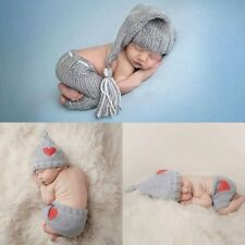 Newborn Baby Crochet Bonnet Hat Love Heart Cap+Shorts Photography Prop Outfits