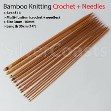 14 Dule-function Bamboo knitting Needles Crochet Hooks Wool Tunisian Afghan