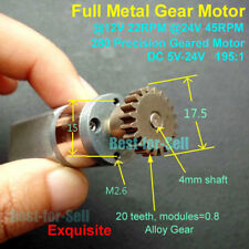 DC 5V-24V 12V 45RPM Full Metal Gearbox Gear Motor Speed Reduction Geared motor