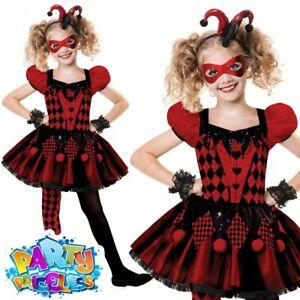 Girls Harlequin Cutie Costume Jester Girl Halloween Fancy Dress Outfit Kids Teen