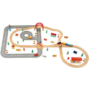 Wooden Train and Road Set 90 Pce - Compatible with Brio & Thomas