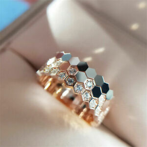 Vintage Silver Gold Crystal Wedding Rings Engagement Ring Size 6-10 Jewelry