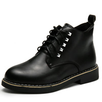 Stylish Trendy Women  Ladies Ankle Boots Rivet Lace Up Boots Winter Boots Shoes