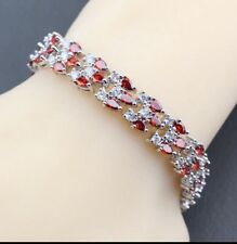 22df5750f97 Red Garnet White Topaz Tennis Overlay Sterling Silver Gemstone Bracelet ...