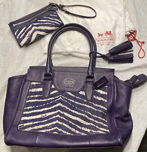 Coach Purple Leather & Purple Fabric Zebra Print Purse Tote Satchel & Wristlet