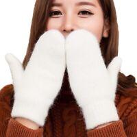 Women Winter Knit Wool Thicker Cashmere Warm Gloves Fingerless Mittens HOT-/