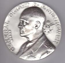 XL WWII Art Deco Slvered Bronze Dwight David Eisenhower, MORLON