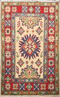 Geometric Super Kazak Classic Oriental Hand-Made Wool Traditional Area Rug 2'x3'