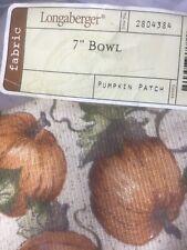 """Longaberger Autumn Fall Pumpkin Patch 7"""" Small Bowl Liner"""