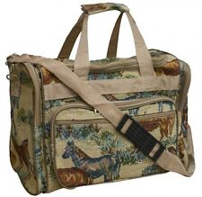 """HORSE DESIGN HEAVY TAPESTRY FABRIC 16"""" DUFFEL BAG  HORSE LOVERS LUGGAGE DUFFLE"""