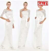 Maternity Evening Dress,Wedding White Ivory,Baby shower gown,Lace Maxi Long, 41A