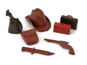 Vintage 70s Marx Best of the West Accessories Brown Cowboy Hat Gun Knife ++  #56