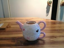 1-800-flowers pink and white butterfly teapot and teacup set