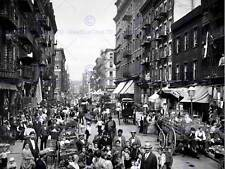 NYC Mulberry Street Vintage Historia Antigua Bw Foto Impresión Cartel 1456BWB