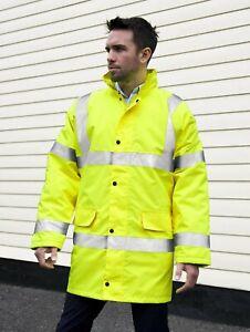 Result Herren Signal Jacke All Wetter Core High Viz Motorway Coat R218X NEW