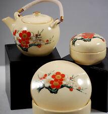 Vintage 1970s Japanese Porcelain Miniature Cherry Blossom Dresser Trinket Box Se