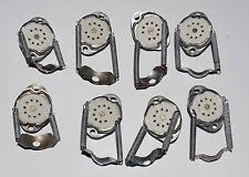 B9A 9-pin Noval Ceramic Tube Sockets w/Springs E88CC ECC83 EL84 ECL86, 8pcs