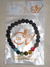 Bracelet perles Noires 7 chakra multicolores 8 mm boudha porte bonheur ZEN Mala