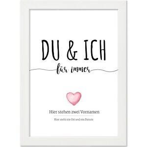 Poster Bild personalisiert 21x30 cm Hochzeit Liebe Geschenk u. Rahmen weiss 11