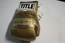 MICHAEL SPINKS & LEON SPINKS DUAL SIGNED TITLE GOLD BOXING GLOVE JSA WITNESS
