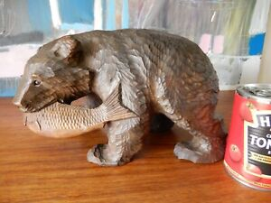 """Antique Japanese Flat Hand Carved """"Bear & Salmon"""" figure c1900-1920, hand signed"""