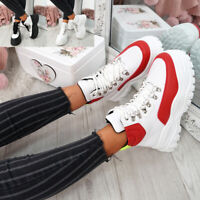 WOMENS LADIES LACE UP CHUNKY TRAINERS HIGH TOP SNEAKERS HIGH FASHION SHOES SIZE