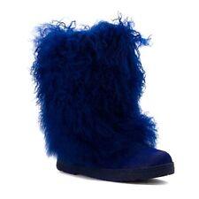 BLUE  Bearpaw Women's Boetis II Lamb Fur Mid-Calf Boots Shoes - 8