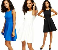 Womens Ladies Slip On Sleeveless Boat Neck Skater Dress Bodycon Casual