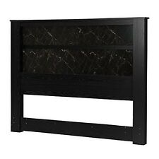 South Shore Gloria King Headboard 78 In with Lights- Black Oak and Black Marble