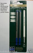 2 Recambios para  roller Montblanc punta media tinta  AZUL ,  Monteverde . fino