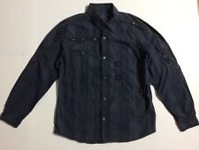 F.U.S.A.I Focus USA Men's XL Blue Snap Button Down L/S Shirt 100% Cotton