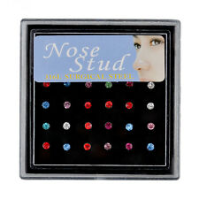 24PCS Colorful Rhinestone Round Nose Ring Bone Stud Body Piercing Jewelry Charm