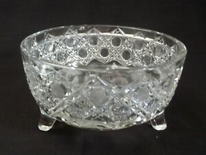 Antique ABP American Brilliant Flower Period hand Cut Crystal Footed Bowl