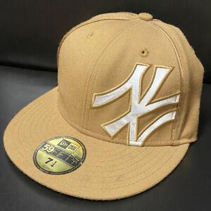 New Era 59Fifty NEW YORK YANKEES Shimmer II Adult MLB Hat Cap 7 1/4 WHEAT/WHITE
