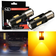 2Pcs 1156P BAU15S PY21W Amber Yellow 21SMD LED Car Turn Signal Tail Light Bulbs
