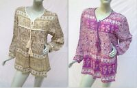 rayon purple sand floral maya gypsy hippie blouse tunic top folk boho 70s look