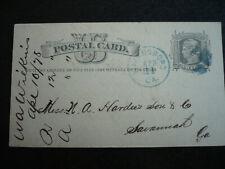 Postal History - USA - Postal Card - UX5 - Wayneboro, GA to Savannah, GA