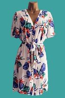 NEW F*F WHITE BLUE PINK FLORAL SUMMER TUNIC TEA DRESS 6 8 10 12 14 16 18 20 22