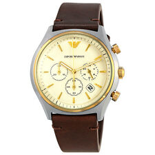 Armani White Dial Mens Brown Leather Chronograph Watch AR11033