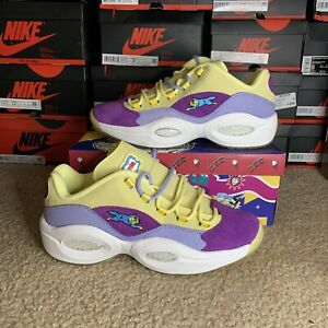 "Iverson Question Low BBC X ICECREAM Yellow Purple ""Running Dog"" Size 11"