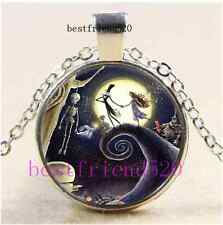 Nightmare Before Christmas Cabochon Glass Tibet Silver Pendant Necklace
